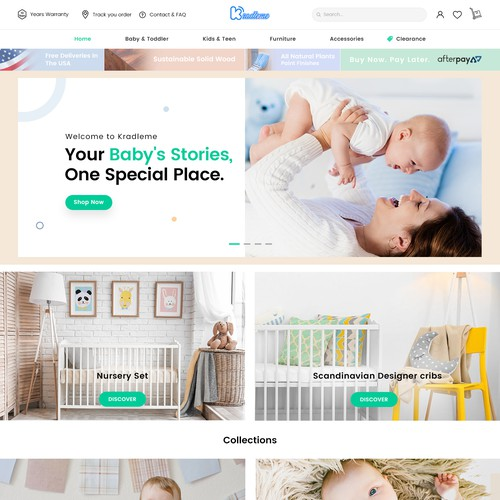 Sophisticated website with the title 'Modern Baby Furniture Store website Redesign.'