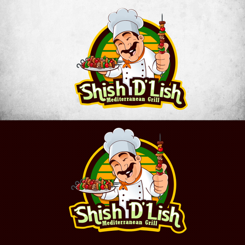 Happy logo with the title 'New logo wanted for Shish D'Lish'