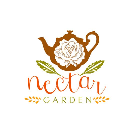 Tea leaf logo with the title 'Creative Logo for Nectar Garden'