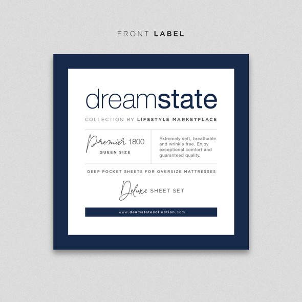 Bed sheet design with the title 'Moden Minimalist Label Design'