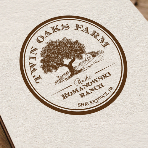Cedar logo with the title 'Twin Oaks Farm at the Romanowski Ranch  (Shavertown, Pa may also be included if possible)'