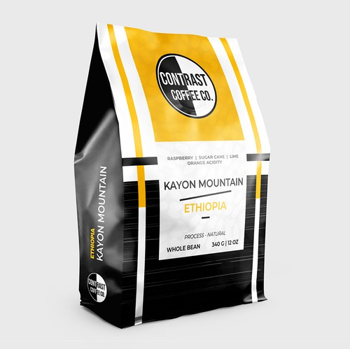 Yellow packaging with the title 'Contrast Coffee Co. Community Coffee Lineup'