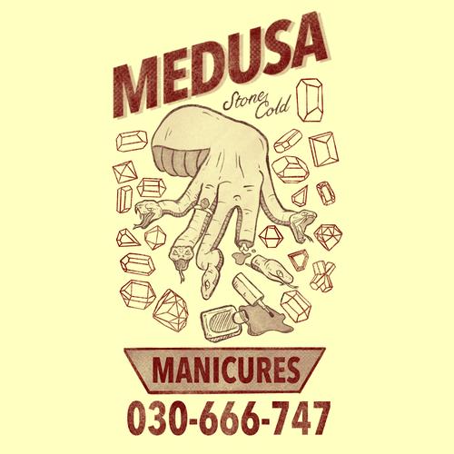 Medusa design with the title 'medusa manicures'