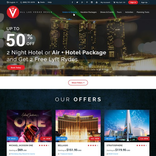 Travel website with the title 'Modern Design for Las Vegas Travel Industry Website '
