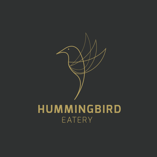Hummingbird design with the title 'Logodesign for Hummingbird - Restaurant, Bar, Rooftop'