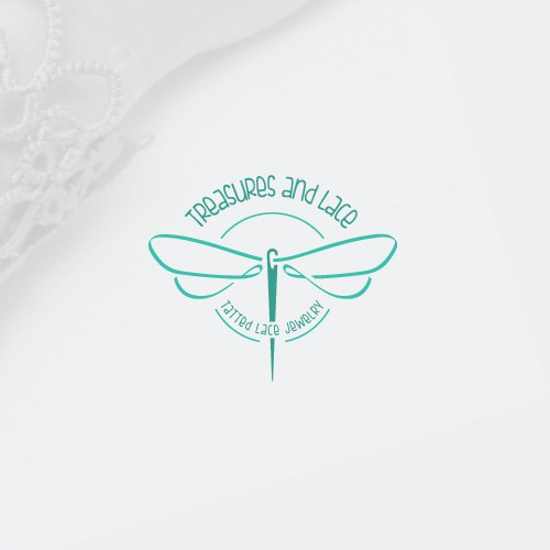 Needle design with the title 'Feminine Logo for Tatted Lace Jewelry'