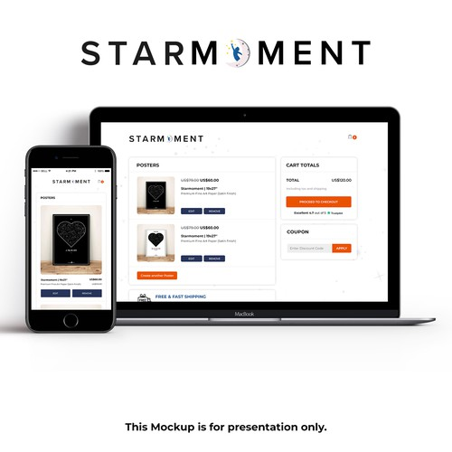 CSS design with the title 'Checkout page for starmoment.com'