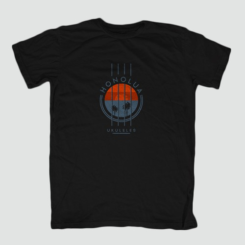 Tropical t-shirt with the title 'Honolua Ukuleles T-shirt'