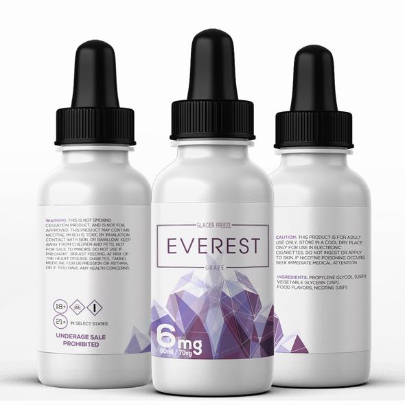 Purple label with the title 'Everest Grape e-liquid'