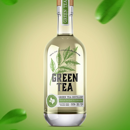Green tea design with the title 'Green Tea Vodka'