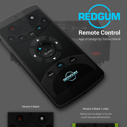 Controller design with the title 'Audio device mobile remote controller UI'