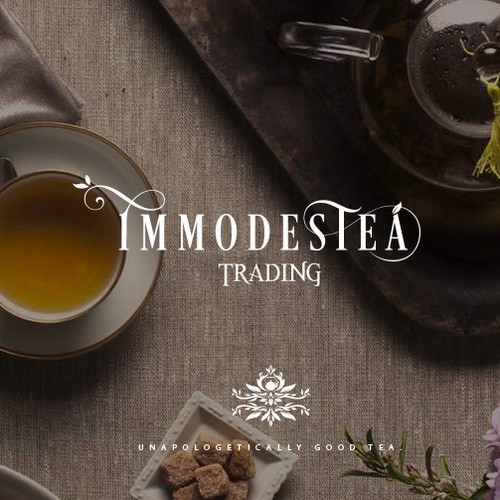 Morning design with the title 'Immodestea - Unapologetically good tea'