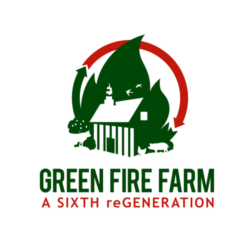 Cabin design with the title 'Green fire farm'