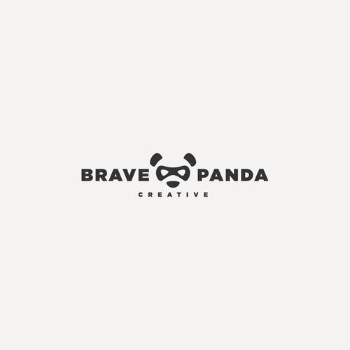 Panda logo with the title 'Brave Panda Logo'