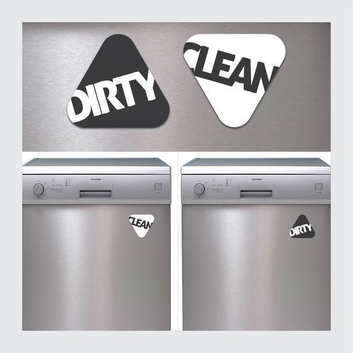 Magnet design with the title 'Dishwasher Magnet Sticker'