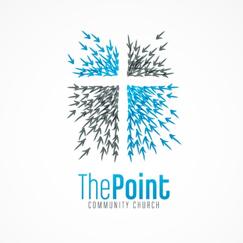 Cross design with the title 'The Point Community Church needs a simple, fresh, vibrant new logo! '