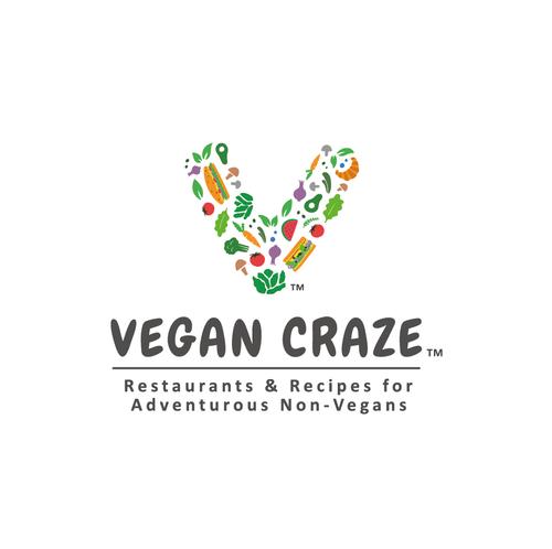 Vegan food logo with the title 'Cheerful logo for Vegan Craze'