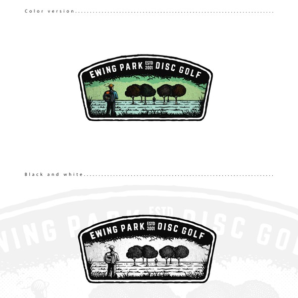 Patch design with the title 'Ewing Disc Golf Park'