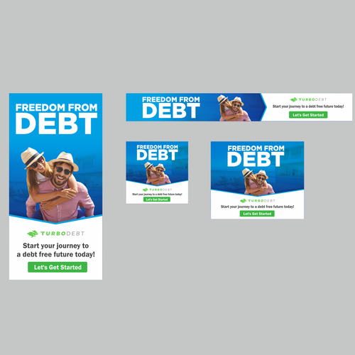 Google Ads design with the title 'Banner Ad Design For TurboDebt'