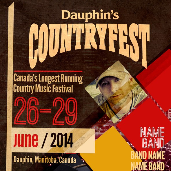 Music festival design with the title 'Dauphin's Countryfest needs a POSTER CONCEPT!'