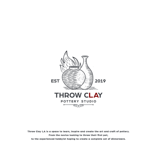 """Pottery logo with the title 'Pottery Studio Logo for """"Throw Clay LA""""'"""