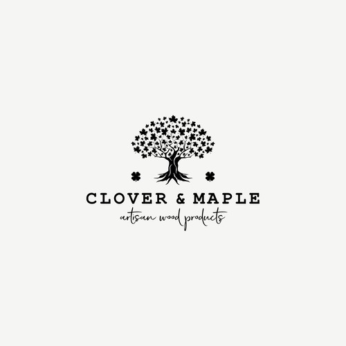 Clover logo with the title 'Adult logo for a wood artisan '