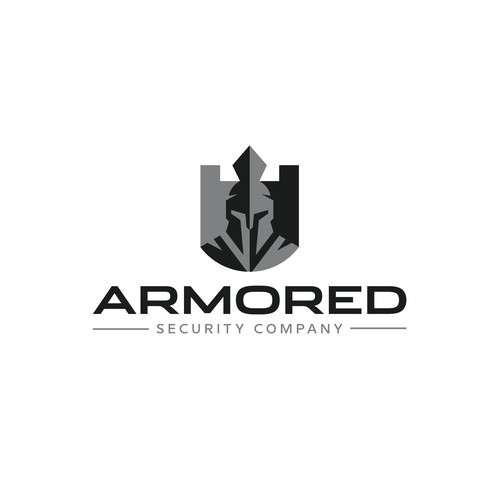 Helmet brand with the title 'Armored Security Company Logo'
