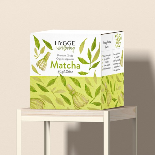 Matcha packaging with the title 'Package design for matcha tea'