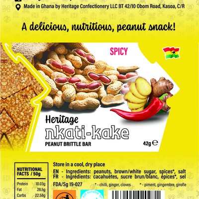 Redesign product package label for peanut brittle bars for Ristic Holdings