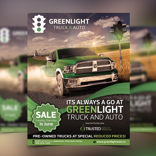 Coupon design with the title 'Green Light truck and auto flyer'