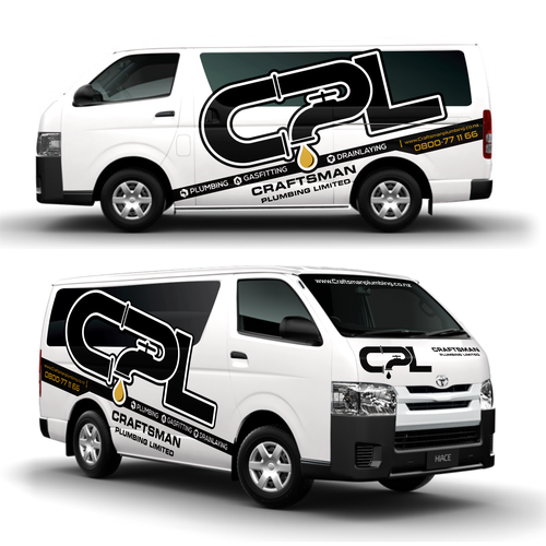 Wrap design with the title 'wrapping car CRAFTMAN PLUMBING'