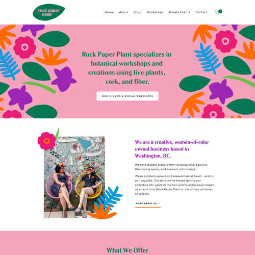 Event website with the title 'Rock Paper Plant's Colorful Squarespace Website'