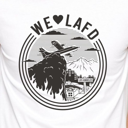 Sketch t-shirt with the title 'We love LAFD'