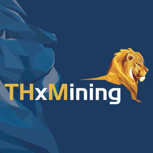 Miner logo with the title 'Lion Polygonal logo'