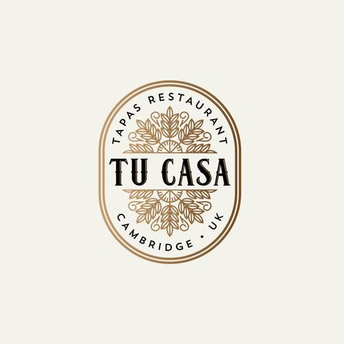 Art Deco logo with the title 'Tu Casa Tapas Restaurant Logo'