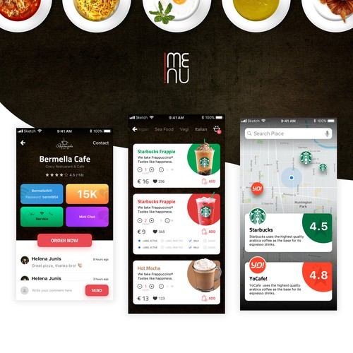 Order design with the title 'Online Ordering App'