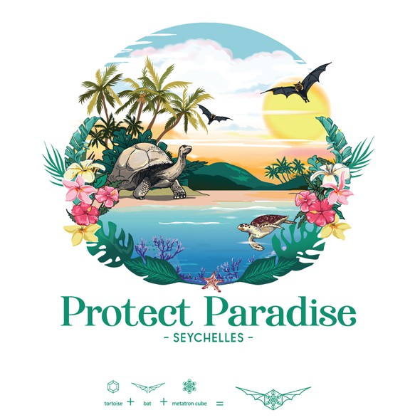 Bat design with the title 'Logo for Protect Paradise'