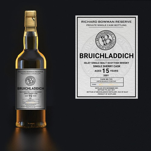Whiskey label with the title 'Label design'
