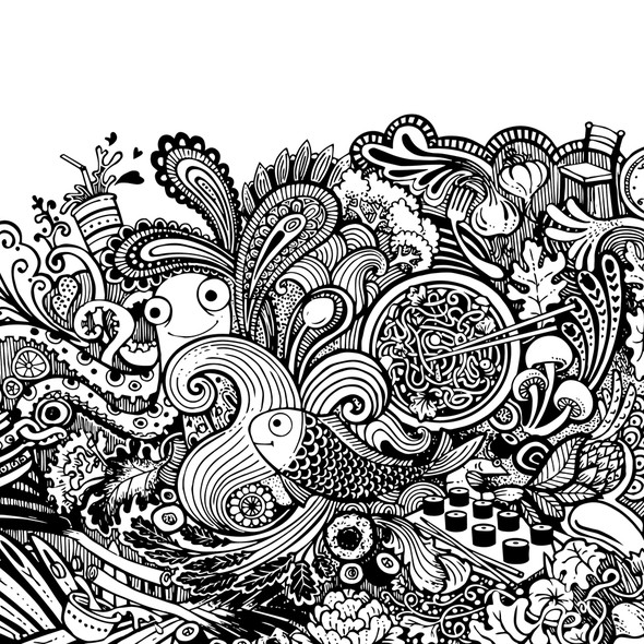 Food and drink artwork with the title 'Big Doodle Story'