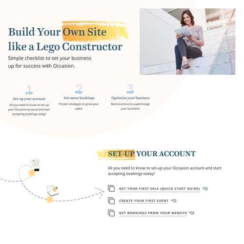 Onboarding design with the title 'Make our onboarding guides landing page'