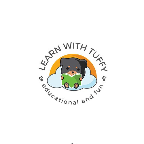 Stunning logo with the title 'Cute and adorable logo for the company that provide educational and fun disposable placemats for kids.'