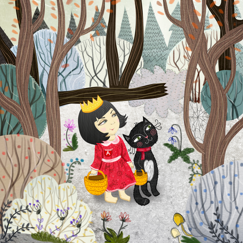 Forest illustration with the title 'a book for my daughter'