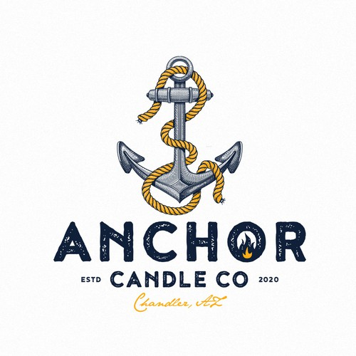 Wax logo with the title 'Anchor Candle Co'