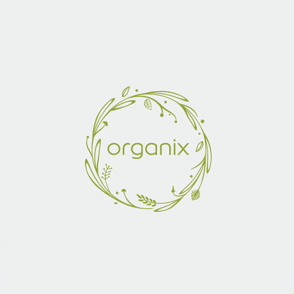 Frame design with the title 'Modern logo with organic feel'