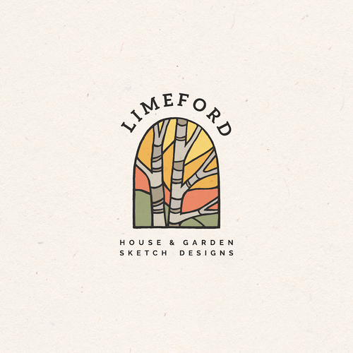 Stained glass logo with the title 'Stained glass window concept for Limeford House & Garden Sketch Designs'