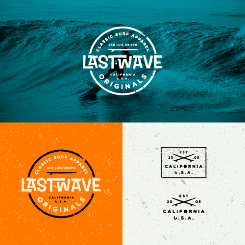 Abstract wave logo with the title 'Retro Surf Logo for Last Wave'