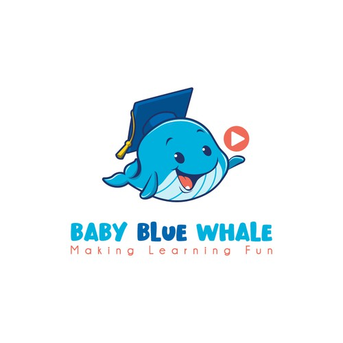 Childish logo with the title 'Baby Blue Whale logo'