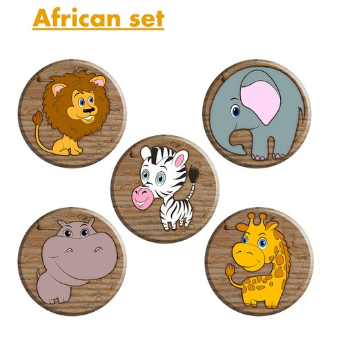 Elephant illustration with the title 'Cartoon animals. African set'