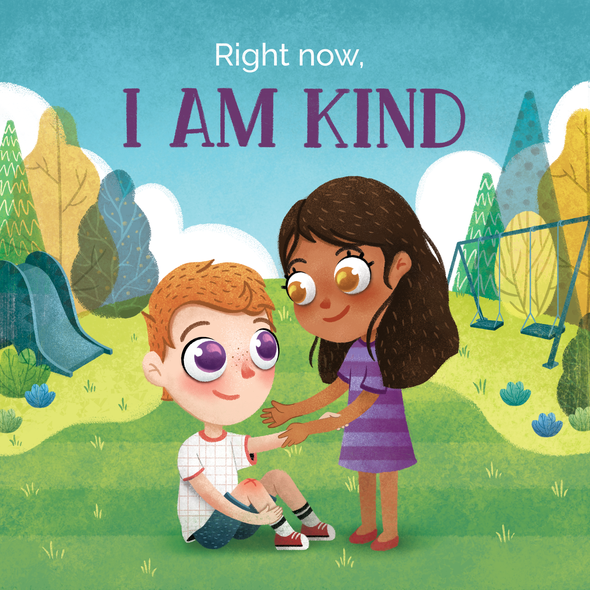 Illustration book cover with the title 'Right Now I am Kind Book Cover'
