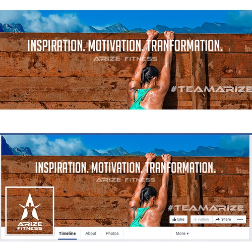 Heaven design with the title 'Facebook cover for Arize Fitness'